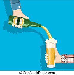 cerveja, copo., garrafa