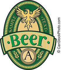 cerveja, desenho, etiqueta