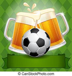 cerveja, e, bola futebol