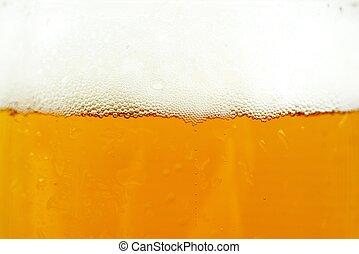 cerveja, e, espuma, fundo