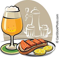 cerveja, e, sanduíche, com, salmão