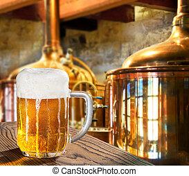 cerveja, em, a, cervejaria