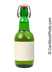 cerveja, em branco, garrafa, etiqueta