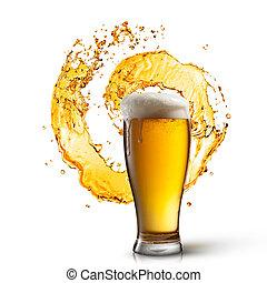 cerveja, em, vidro, com, respingo, isolado, branco