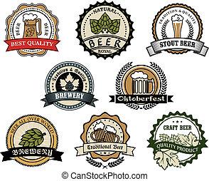 cerveja, etiquetas, cervejaria