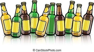 cerveja, etiquetas, garrafas, vazio