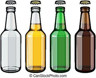 cerveja, jogo, garrafas, vazio, cheio