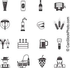 cerveja, jogo, pretas, ícones