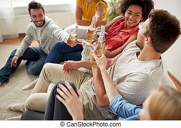 Cerveja, lar, Partido, bebendo, amigos, Feliz