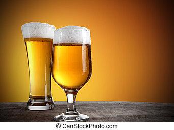 cerveja, ouro, fundo, óculos
