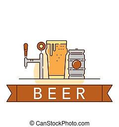 cerveja, tema, ilustração
