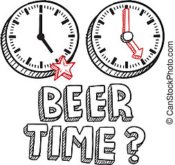 cerveja, tempo, fim, de, trabalho, esboço