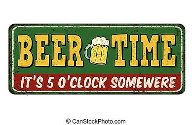 cerveja, tempo, vindima, metal enferrujado, sinal