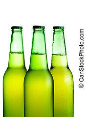 cerveja verde, branca, garrafas, isolado