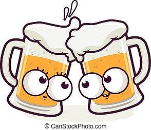 cerveja, vetorial, desenhos animados, ilustração, toasting.