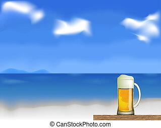 cerveja, vetorial, praia