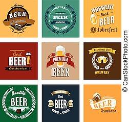 cervejaria, e, cerveja, etiquetas, ou, bandeiras