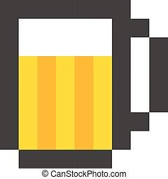 cervejaria, vindima, símbolo, sinal, vidro, cerveja, modelo, pixel