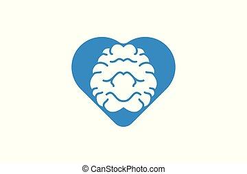 cervello, amore, logotipo