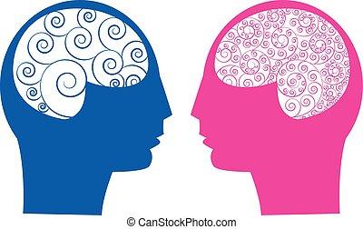 cervello, astratto, maschio, vs, femmina
