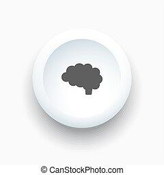 cervello, bottone, 3d, bianco, icona