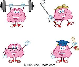 cervello, cartone animato, mascotte, collezione, 2