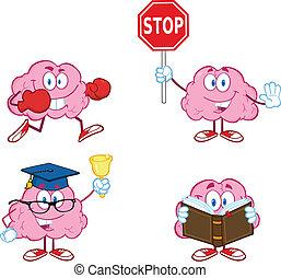 cervello, cartone animato, mascotte, collezione, 3