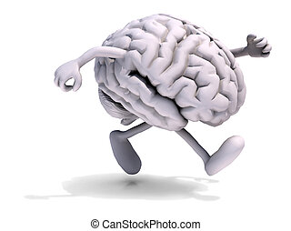 cervello, correndo, gambe, braccia, umano