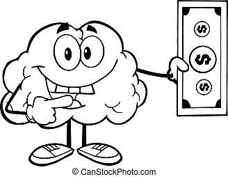cervello, delineato, conto, dollaro