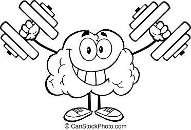 cervello, delineato, dumbbells