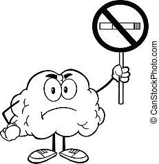 cervello, delineato, segno, fumo, no