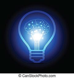 cervello, dentro, digitale, lampada, elettrico