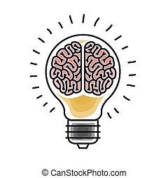 cervello, disegno, tempesta