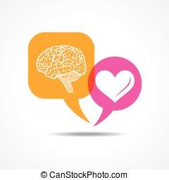 cervello, e, cuore, in, messaggio, bolla