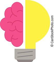 cervello, e, luce gialla, bulbo