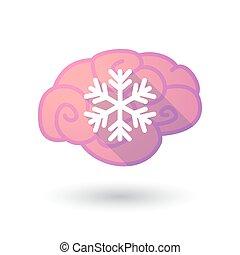 cervello, fiocco neve, icona