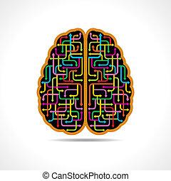 cervello, frecce, colorito, formare