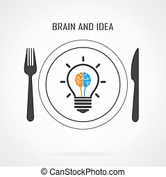 cervello, idea, fondo, bulbo, creativo, luce, concetto