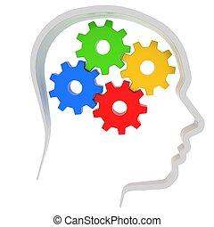 cervello, ingranaggi, umano, instead