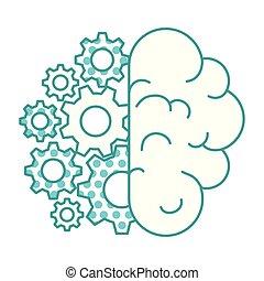 cervello, ingranaggi, umano