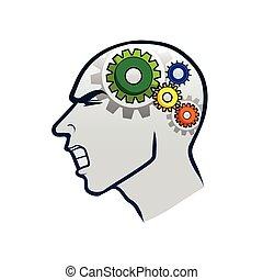 cervello, ingranaggio, lavorativo