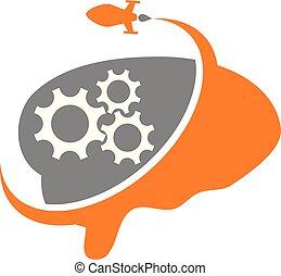 cervello, ingranaggio, razzo