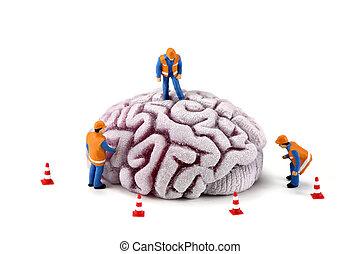 cervello, lavorante, costruzione, concept:, ispezionando