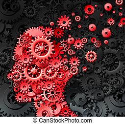 cervello, lesione, umano