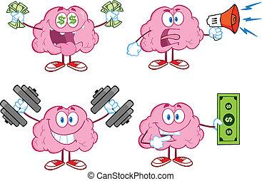 cervello, mascotte, 4, collezione, cartone animato