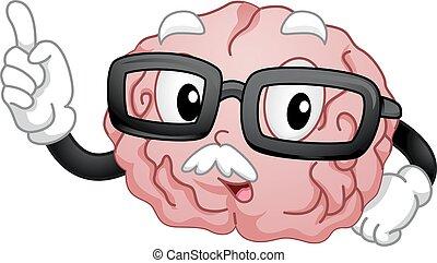 cervello, mascotte, vecchio, insegnamento