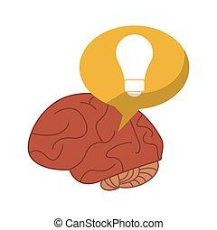 cervello pensante, bolla, idea