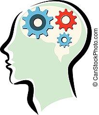 cervello pensante, testa, equipaggia, processo