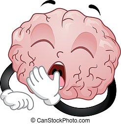 cervello, sbadiglio, illustrazione, mascotte