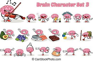 cervello, set, carattere, cartone animato